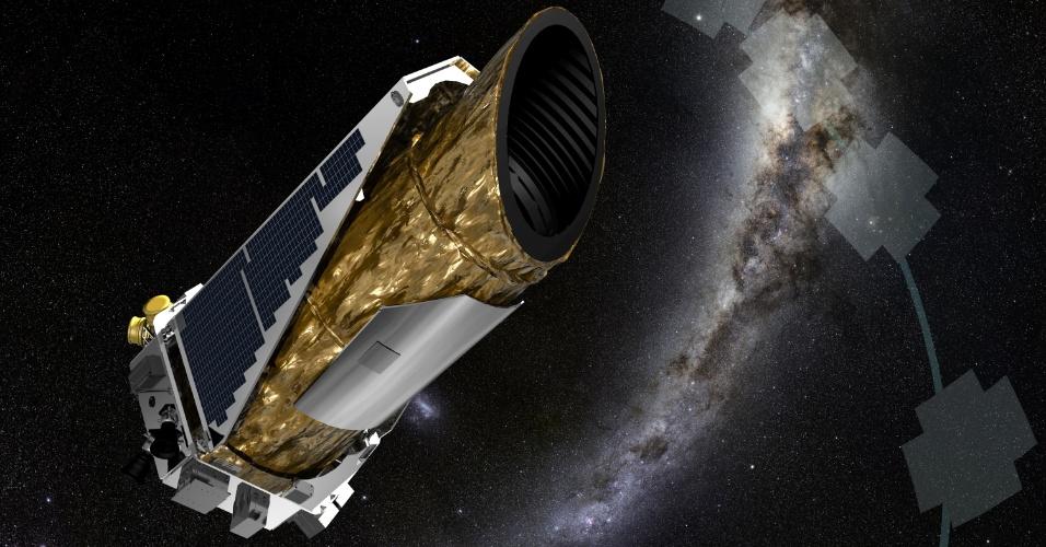 18.dez.2014 - NOVO EXOPLANETA - Concepção artística mostra a sonda espacial Kepler, da Nasa (agência espacial americana), que descobriu o primeiro exoplaneta em seu nova missão K-2. A descoberta só foi possível, pois os astrônomos e engenheiros desenvolveram uma forma de redirecionar a sonda, que apresentou uma falha da segunda roda de reação em seu sistema de direcionamento em 2013. O recém-descoberto exoplaneta HIP 116454b tem 2,5 vezes o diâmetro da Terra e segue nove dias de órbita em torno de uma estrela que é menor e mais fria do que o nosso Sol, tornando o planeta muito quente para a vida como conhecemos