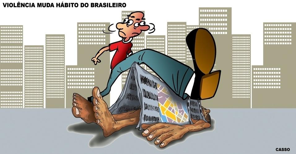 19.dez.2014 - O chargista Casso aborda o tema da violência e dos novos hábitos do brasileiro