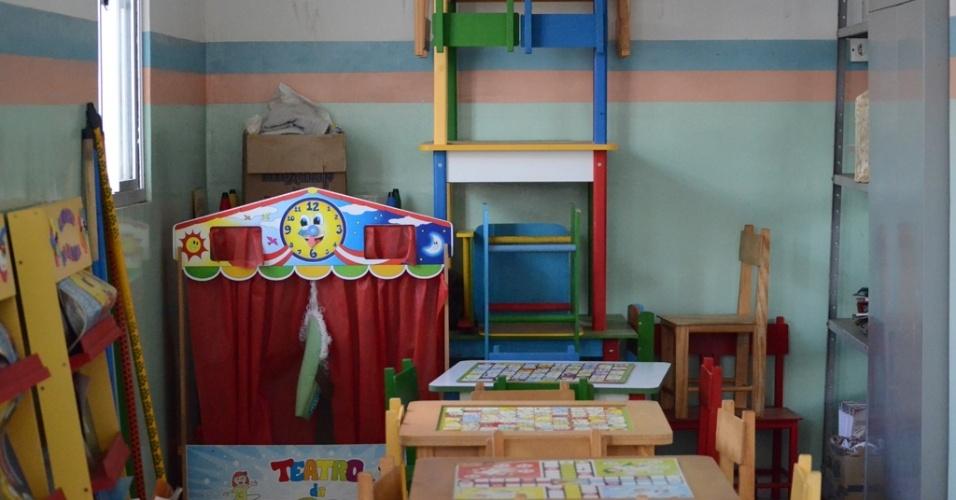 Brinquedoteca disponibilizada para ser usada por crianças que visitam internas do Complexo prisional do Serrotão em Campina Grande (PB)