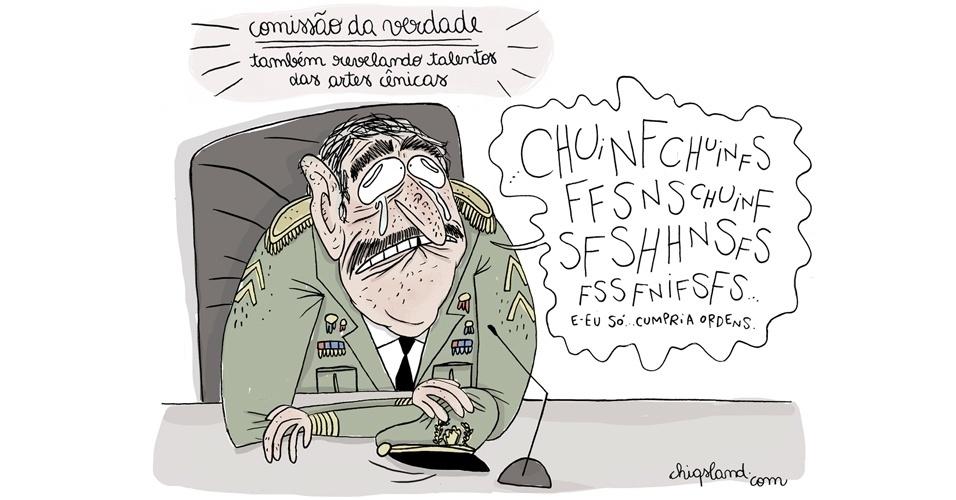 22.dez.2014 - A chargista Chiquinha ironiza as reações de militares na Comissão da Verdade, que investiga crimes da época da ditadura