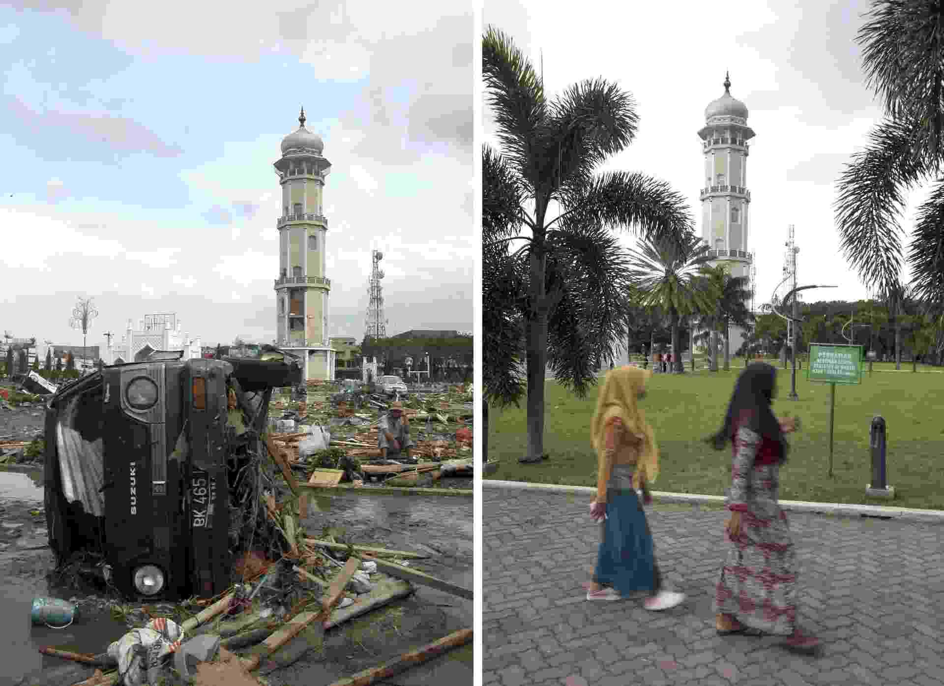 Fotos comparam a situação no entorno da mesquita de Baitulrahman, em Banda Aceh (indonésia), dez anos depoisdo tsunami que matou 250 mil pessoas no leste asiático - HOTLI SIMANJUNTAK/EFE