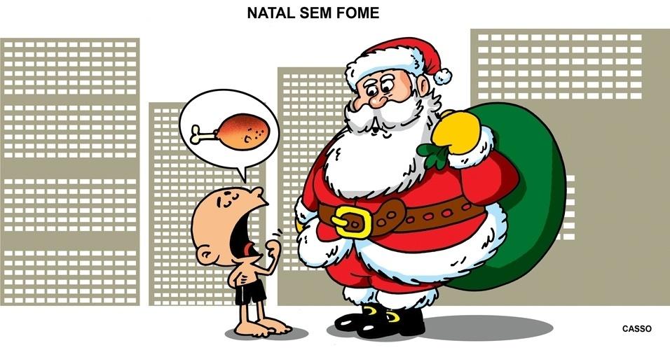 25.dez.2014 - O chargista Casso critica o exagerado consumo durante a época do Natal, enquanto as necessidades básicas do país ainda não foram supridas
