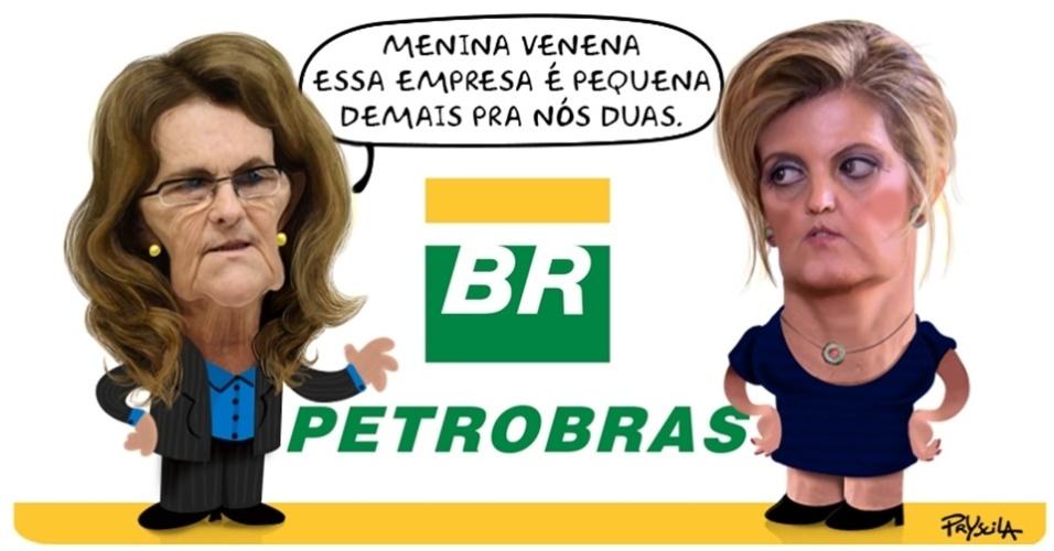 26.dez.2014 - A cartunista Pryscila aborda com humor as denúncias feitas pela funcionária Venina Velosa da Fonseca à presidente da Petrobras, Graça Foster
