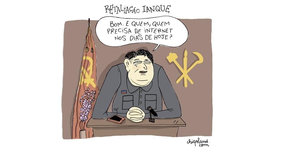 """29.dez.2014 - A chargista Chiquinha ironiza a polêmica dos ciberataques entre a Coreia do Norte e os EUA por conta do filme """"A Entrevista"""""""