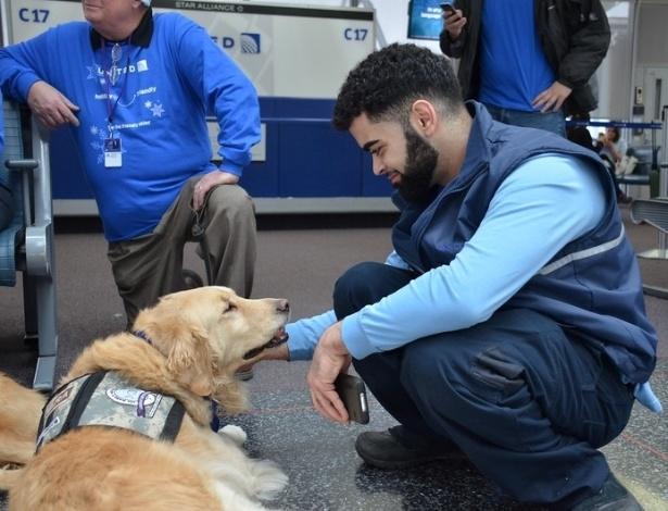 A companhia aérea norte-americana United Airlines levou uma equipe de cachorros para o aeroporto internacional de Chicago (EUA)