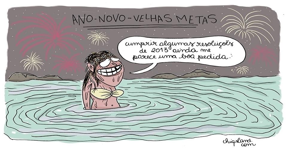 30.dez.2014 - A chargista Chiquinha sugere que, além das metas de 2014 não cumpridas, as velhas metas de 2013 também sejam reaproveitadas no ano novo