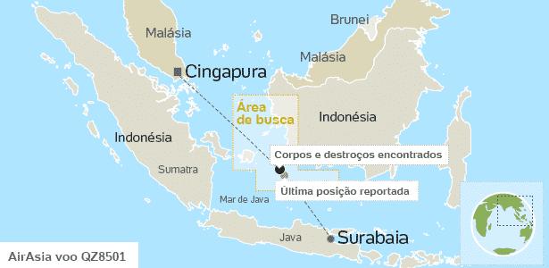 Mapa mostra área de busca do voo QZ8501 e onde corpos foram avistados - Arte UOL