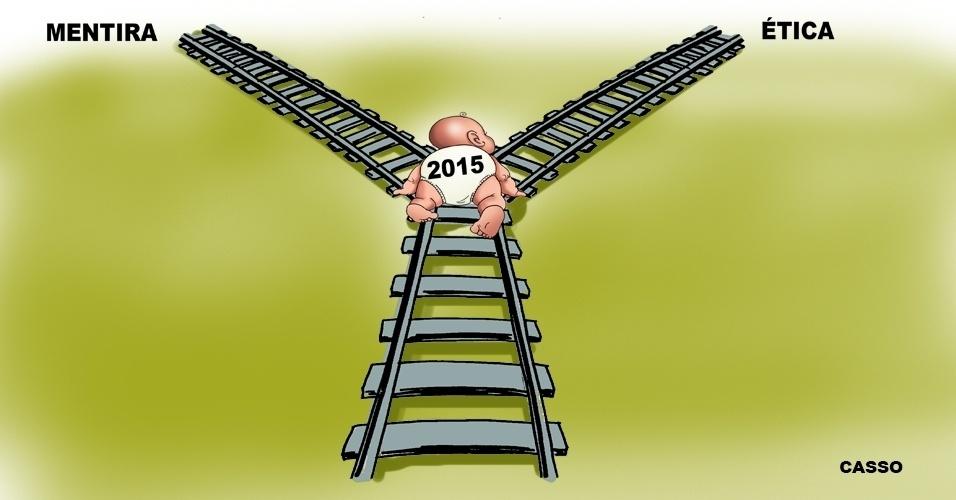 1º.jan.2015 - O chargista Casso aponta dois caminhos para o ano recém-nascido: o da verdade e o da mentira e corrupção