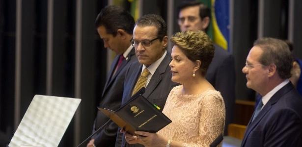 A presidente Dilma Rousseff faz juramento em cerimônia de posse no Congresso