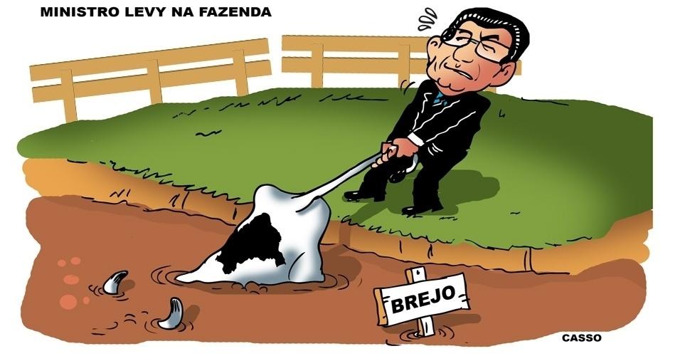 """5.jan.2014 - O chargista Casso mostra que o novo ministro da Fazenda, Joaquim Levy, terá que fazer muito esforço para """"a vaca não ir para o brejo"""""""