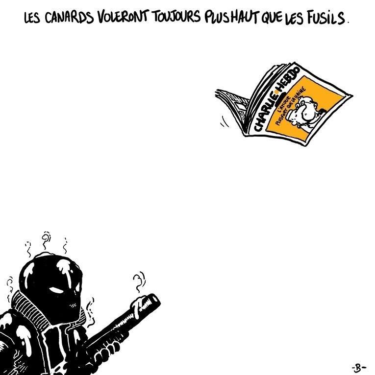 """7.jan.2015 - O cartunista Boulet fez uma charge nesta quarta-feira (7) para homenagear os mortos no ataque à sede da revista 'Charlie Hebdo' em Paris, na França. Na ilustração, os dizeres ?Pássaros - gíria usada para denominar os meios de comunicação - sempre irão voar mais alto do que armas"""". Homens armados abriram fogo ao escritório e mataram ao menos 12 pessoas, entre elas os cartunistas Jean Cabut, Stephane Charbonnier, Georges Wolinski e Bernard Verlhac. Não há informações sobre quem seriam os atiradores e o que os motivou, mas a revista já publicou ilustrações satíricas sobre líderes muçulmanos e foi ameaçada por divulgar caricaturas de Maomé há três anos"""