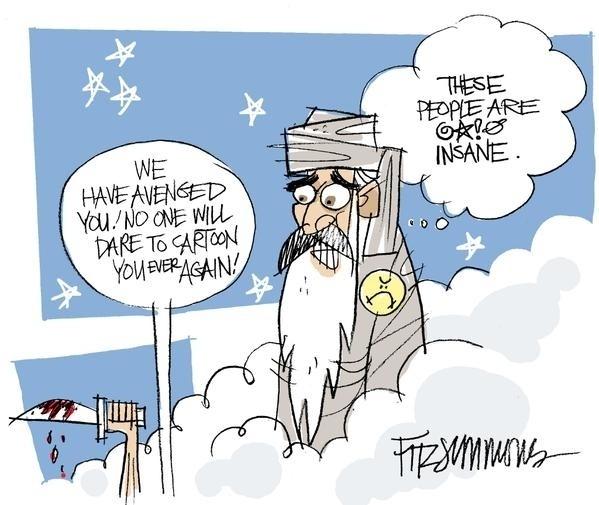 """7.jan.2015 - O cartunista David Fitzsimmons, do Arizona Daily Star, fez uma charge nesta quarta-feira (7) para homenagear os mortos no ataque à sede da revista 'Charlie Hebdo' em Paris, na França. Na ilustração, os dizeres """"- Nós te vingamos. Ninguém ousará te desenhar de novo; - """"Estas pessoas estão loucas"""" (tradução do inglês). Homens armados abriram fogo ao escritório e mataram ao menos 12 pessoas, entre elas os cartunistas Jean Cabut, Stephane Charbonnier, Georges Wolinski e Bernard Verlhac. Não há informações sobre quem seriam os atiradores e o que os motivou, mas a revista já publicou ilustrações satíricas sobre líderes muçulmanos e foi ameaçada por divulgar caricaturas de Maomé há três anos"""