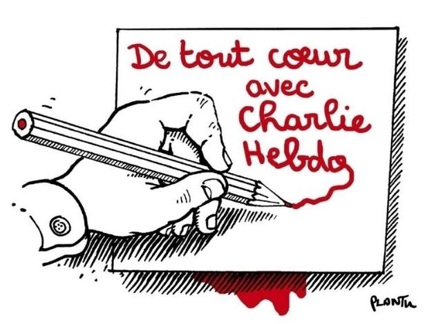 7.jan.2015 - O cartunista Jean Plantureux, mais conhecido como Plantu, fez uma charge nesta quarta-feira (7) para homenagear os mortos no ataque à sede da revista Charlie Hebdo em Paris, França. Na ilustração, uma mão escreve com lápis vermelho 'Inteiramente com Charlie Hebdo' (em tradução do francês). Homens armados abriram fogo ao escritório e mataram ao menos 12 pessoas, entre elas os cartunistas Jean Cabut, Stephane Charbonnier, Georges Wolinski e Bernard Verlhac. Não há informações sobre quem seriam os atiradores e o que os motivou, mas a revista já publicou ilustrações satíricas sobre líderes muçulmanos e foi ameaçada por divulgar caricaturas de Maomé há três anos
