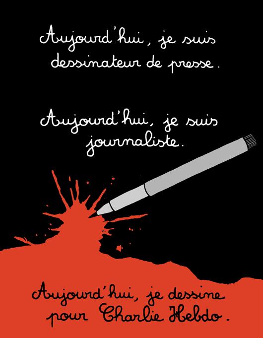 """7.jan.2015 - O cartunista Martin Vidberg fez uma charge nesta quarta-feira (7) para homenagear os mortos no ataque à sede da revista 'Charlie Hebdo' em Paris, na França. Na ilustração, os dizeres """"Hoje, eu sou um cartunista de imprensa. Hoje, eu sou um jornalista. Hoje, eu desenho por Charlie Hebdo"""" (tradução do francês). Homens armados abriram fogo ao escritório e mataram ao menos 12 pessoas, entre elas os cartunistas Jean Cabut, Stephane Charbonnier, Georges Wolinski e Bernard Verlhac. Não há informações sobre quem seriam os atiradores e o que os motivou, mas a revista já publicou ilustrações satíricas sobre líderes muçulmanos e foi ameaçada por divulgar caricaturas de Maomé há três anos"""