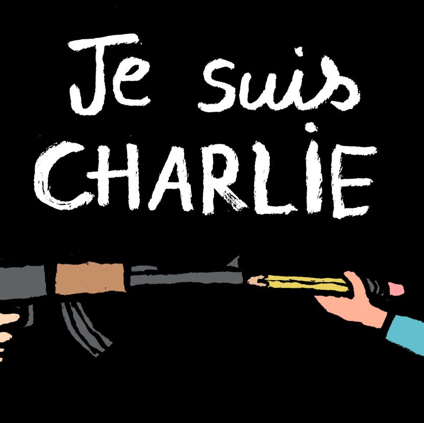 """7.jan.2015 - O cartunista Neelabh Banerjee fez uma charge nesta quarta-feira (7) para homenagear os mortos no ataque à sede da revista 'Charlie Hebdo' em Paris, na França. Na ilustração, os dizeres: """"Somos todos Charlie"""". Homens armados abriram fogo ao escritório e mataram ao menos 12 pessoas, entre elas os cartunistas Jean Cabut, Stephane Charbonnier, Georges Wolinski e Bernard Verlhac. Não há informações sobre quem seriam os atiradores e o que os motivou, mas a revista já publicou ilustrações satíricas sobre líderes muçulmanos e foi ameaçada por divulgar caricaturas de Maomé há três anos"""