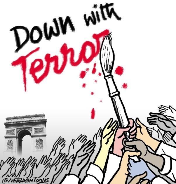 """7.jan.2015 - O cartunista Neelabh Banerjee fez uma charge nesta quarta-feira (7) para homenagear os mortos no ataque à sede da revista 'Charlie Hebdo' em Paris, na França. Na ilustração, os dizeres: """"Vamos acabar com o terrorismo"""". Homens armados abriram fogo ao escritório e mataram ao menos 12 pessoas, entre elas os cartunistas Jean Cabut, Stephane Charbonnier, Georges Wolinski e Bernard Verlhac. Não há informações sobre quem seriam os atiradores e o que os motivou, mas a revista já publicou ilustrações satíricas sobre líderes muçulmanos e foi ameaçada por divulgar caricaturas de Maomé há três anos"""