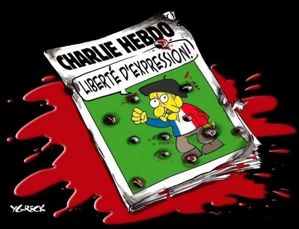 7.jan.2015 - O cartunista Ygreck fez uma charge nesta quarta-feira (7) para homenagear os mortos no ataque à sede da revista Charlie Hebdo em Paris, França. Na ilustração, o artista desenhou uma publicação da Charlie Hebdo sangrando e baleada com a manchete 'Liberdade de Expressão' (em tradução do francês). Homens armados abriram fogo ao escritório e mataram ao menos 12 pessoas, entre elas os cartunistas Jean Cabut, Stephane Charbonnier, Georges Wolinski e Bernard Verlhac. Não há informações sobre quem seriam os atiradores e o que os motivou, mas a revista já publicou ilustrações satíricas sobre líderes muçulmanos e foi ameaçada por divulgar caricaturas de Maomé há três anos