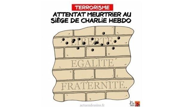 """7.jan.2015 - O coletivo de ilustradores e cartunistas Le Plus divulgou uma charge nesta quarta-feira (7) para homenagear os mortos no ataque à sede da revista 'Charlie Hebdo' em Paris, na França. Na ilustração, os dizeres """"Ataque assassino na sede da Charlie Hebdo"""" (tradução do francés). Homens armados abriram fogo ao escritório e mataram ao menos 12 pessoas, entre elas os cartunistas Jean Cabut, Stephane Charbonnier, Georges Wolinski e Bernard Verlhac. Não há informações sobre quem seriam os atiradores e o que os motivou, mas a revista já publicou ilustrações satíricas sobre líderes muçulmanos e foi ameaçada por divulgar caricaturas de Maomé há três anos"""