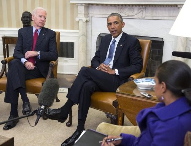 O presidente dos Estados Unidos, Barack Obama, o vice-presidente, Joseph Biden e a conselheira de Segurança Nacional EUA, Susan Rice