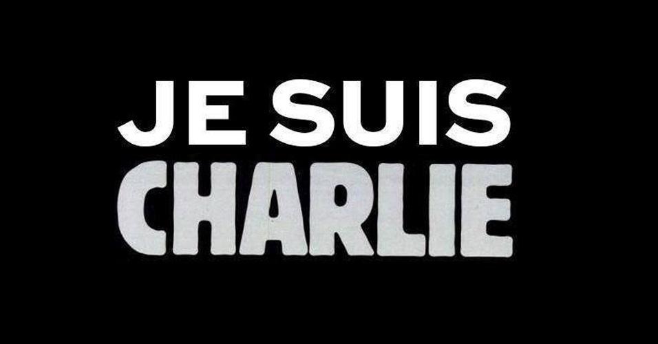 """7.jan.2015 - O site da revista satírica francesa """"Charlie Hebdo"""" divulgou imagem de luto pelo atentado terrorista, ocorrido nesta quarta-feira (7), contra sua sede em Paris. Na imagem, a mensagem diz """"eu sou Charlie"""", frase que ganhou forças nas redes sociais em solidariedade às vítimas do ataque, que deixou 12 mortos"""