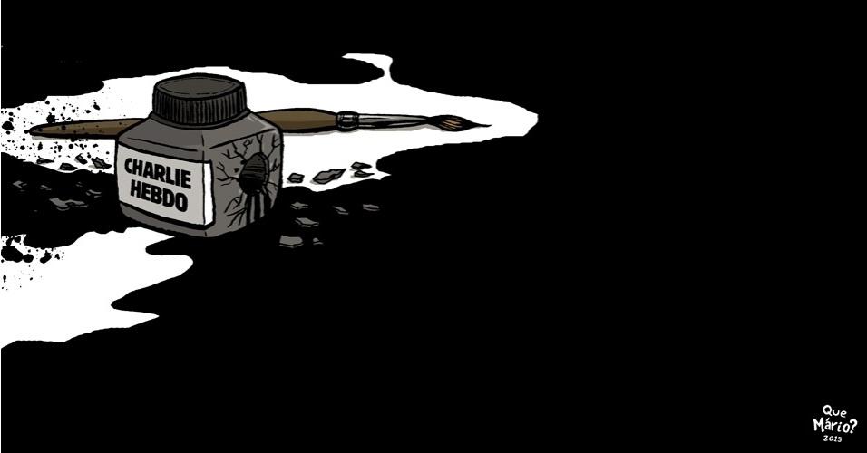 """8.jan.2015 - A morte dos cartunistas e do editor da revista francesa """"Charlie Hebdo"""" no atentado contra a sede da publicação, em Paris, é tema da charge do artista Que Mário?"""