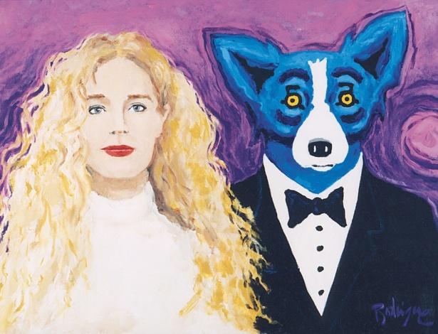 """A pintura """"Wendy and Me"""", de 1997, que retrata Jacques Rodrigue como um cão azul, ao lado de sua noiva - HANDOUT"""