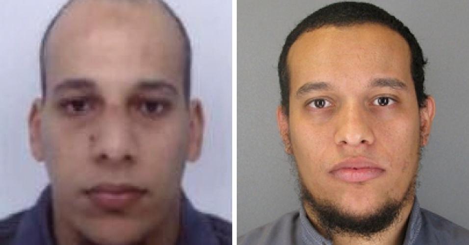 """8.jan.2015 - A polícia francesa divulgou imagens dos irmãos suspeitos do ataque. Cherif Kouachi (esq.) e Said Kouachi (dir.) são apontados como os responsáveis diretos pelos tiros que deixaram 12 mortos na sede da revista francesa """"Charlie Hebdo"""""""