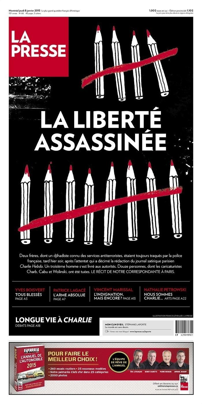 8.jan.2015 - La Presse - Montreal (Canadá) -  - capa do jornal -  - homenagens ao Charles Hebdo