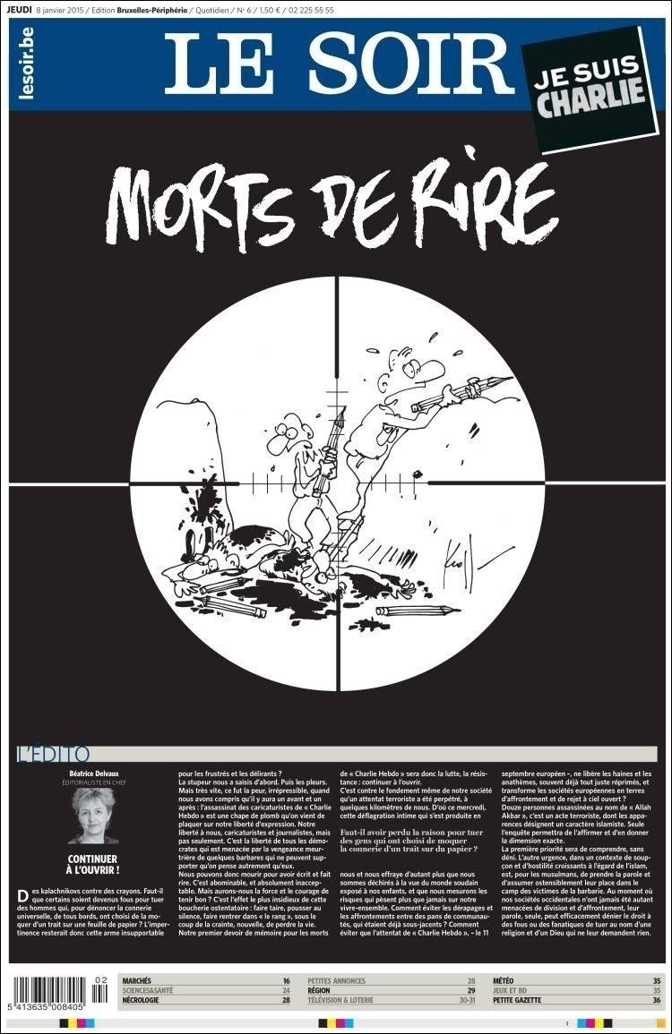 8.jan.2015 - Le Soir - Bélgica -  - capa do jornal -  - homenagens ao Charles Hebdo