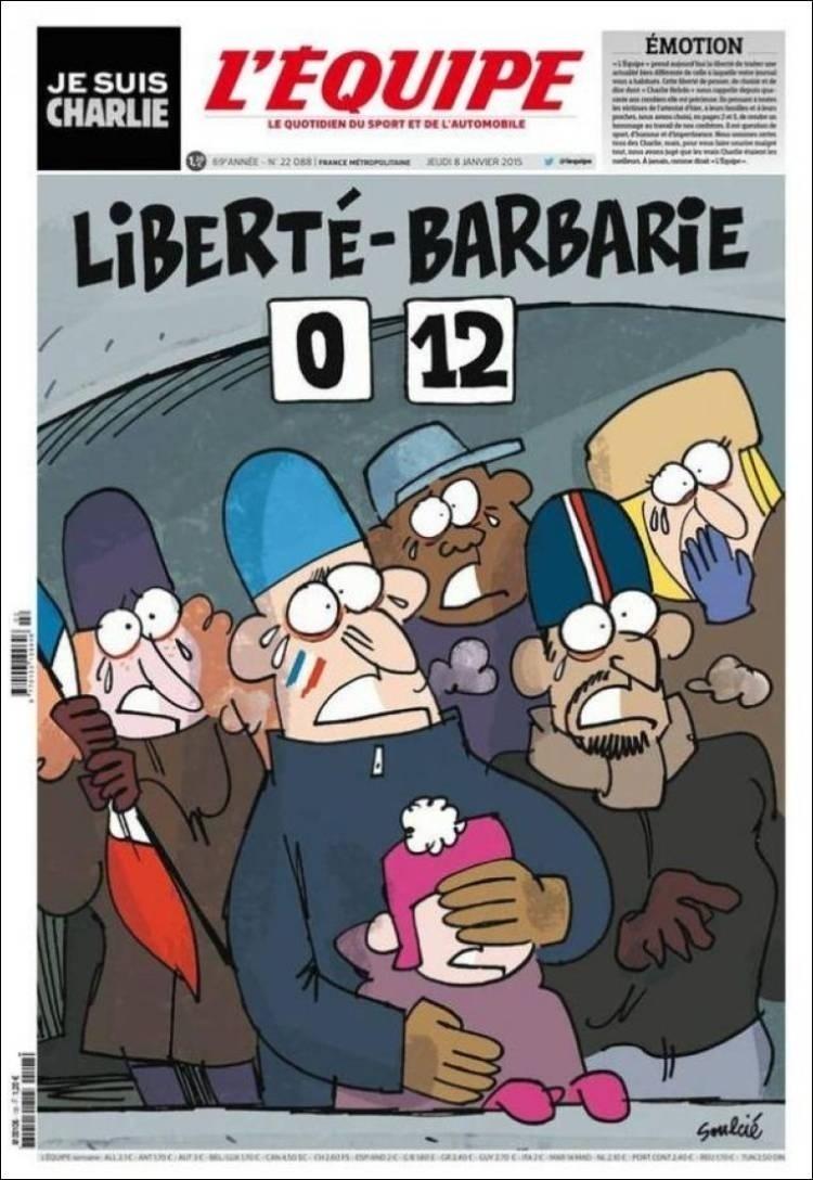 8.jan.2015 - L'Équipe - França - capa de jornal -  - homenagens ao Charles Hebdo