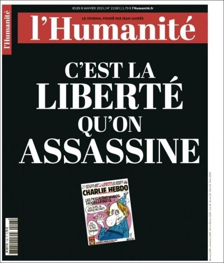 8.jan.2015 - L'Humanité - França - capa do jornal -  - homenagens ao Charles Hebdo