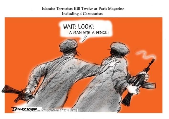 """8.jan.2015 - O cartunista Jeff Danziger, do """"The Huffington Post"""", fez uma charge para homenagear os mortos no ataque à sede da revista 'Charlie Hebdo' em Paris, na França. Na ilustração, os dizeres """"- Espera! Olhe! Um homem com um lápis"""" (tradução do inglês)"""