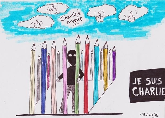 """8.jan.2015 - O cartunista Olivier Blonsard divulgou uma charge em seu Twitter em homenagem às vítimas do ataque em Paris. Na arte, os cartunistas aparecem como nuvens no céu e a inscrição no centro diz """"Anjos da Charlie"""", em referência a revista """"Charlie Hebdo"""", mas também um trocadilho com o nome da série """"As Panteras"""". Também foi retratado um homem mascarado preso entre grades feitas de lápis de cor. A inscrição na lateral direita quer dizer """"eu sou Charlie"""" (em tradução do francês)"""