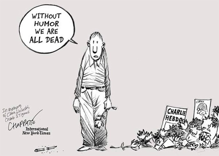 """8.jan.2015 - O cartunista Patrick Chappatte fez uma charge dedicada à memória dos colegas que foram vítimas do ataque contra a revista """"Charlie Hebdo"""", em Paris. Na arte lê-se """"sem humor estaremos todos mortos"""" (em tradução do inglês)"""