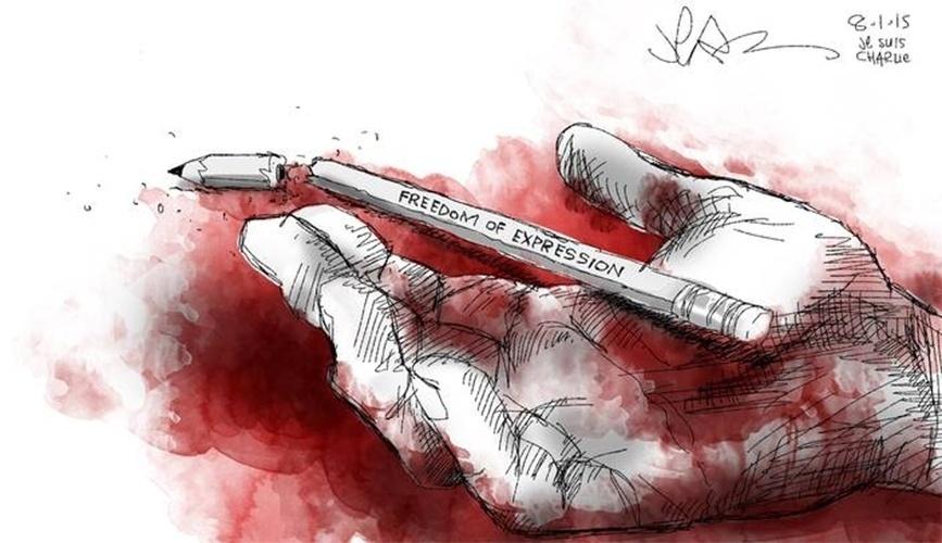 """8.jan.2015 - O cartunista sul-africano Jerm prestou uma homenagem às vítimas do atentado contra a revista """"Charlie Hebdo"""", em Paris. Na mensagem, lê-se: """"liberdade de expressão"""" (em tradução do inglês)"""