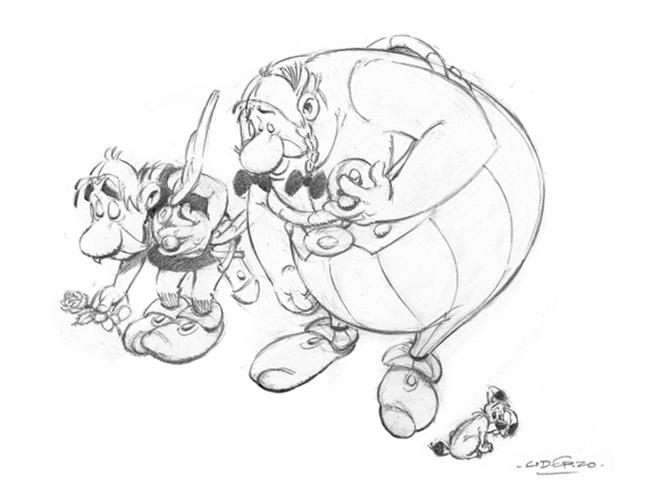 """8.jan.2015 - Os personagens Asterix e Obelix, do desenhista francês Albert Uderzo, prestam condolências às 12 vítimas do atentado contra a revista """"Charlie Hebdo"""". O artista havia se aposentado e parado de desenhar os personagens, mas voltou para prestar esta homenagem aos colegas cartunistas"""