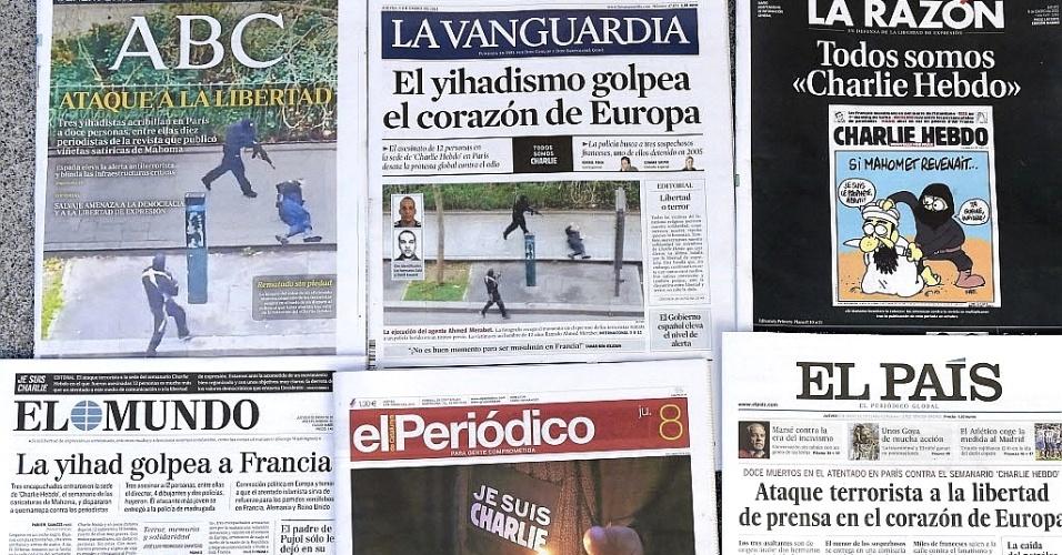 """8.jan.2015 - Os principais jornais espanhóis destacaram o ataque de homens armados contra o escritório da revista francesa """"Charlie Hebdo"""" em Paris, que matou 12 pessoas. A França decretou luto e busca os suspeitos do atentado"""