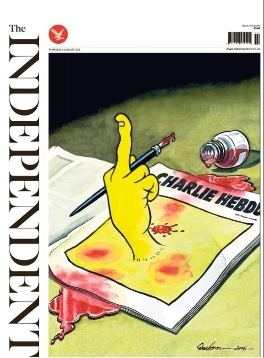 8.jan.2015 - The Independent - Reino Unido - capa de jornal -  homenagens ao Charles Hebdo