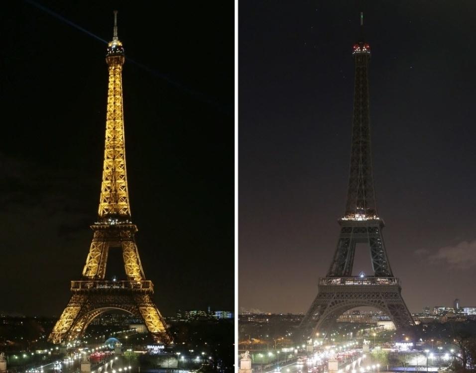 """8.jan.2015 - Torre Eiffel, um dos monumentos mais emblemáticos do mundo, apagou na noite desta quinta-feira (8) suas luzes como sinal de luto pelas 12 vítimas do atentado de ontem contra a revista satírica francesa """"Charlie Hebdo"""". Montagem mostra antes e depois da iluminação da torre ter sido apagada"""