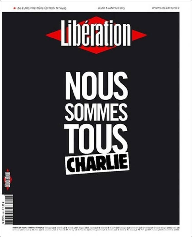 Liberátion - França - capa de jornal   - homenagens ao Charles Hebdo