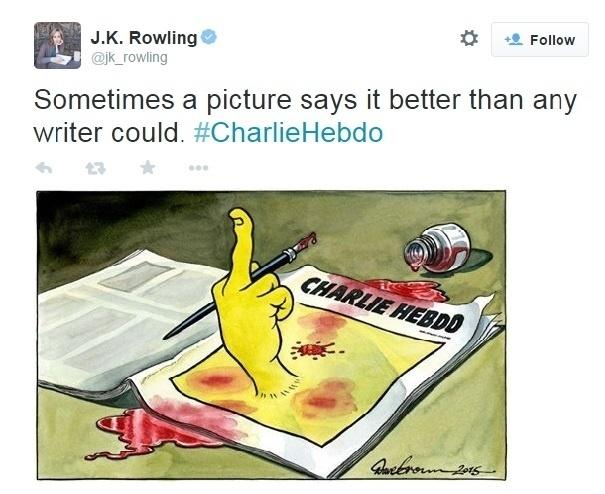 """9.jan.2015 - A escritora britânica J. K. Rowling, autora da série de livros Harry Potter, postou em sua conta no Twitter uma imagem em repúdio ao atentado à revista """"Charlie Hebdo"""", que matou 12 pessoas em Paris, na França. A imagem publicada no dia 7 de janeiro já possui mais de 28 mil compartilhamentos"""