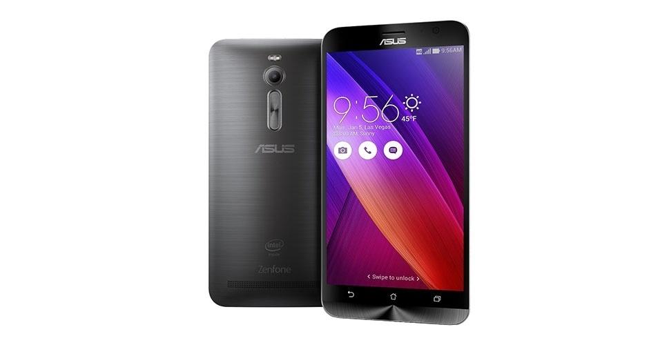 9.jan.2015 - O  ZenFone 2 foi um dos destaques da Asus na CES 2015. O aparelho vem com processador Intel Atom Z580 64 bit, 4 GB de memória RAM, conexão 4G e uma tela de 5,5 polegadas. O telefone inteligente tem ainda uma câmera traseira com um sensor de 13 megapixels e uma bateria de 3.000 mAh  -- o suficiente para um dia sem recarga, segundo a empresa. Ele vai ser lançados nos EUA com preço sugerido de US$ 199