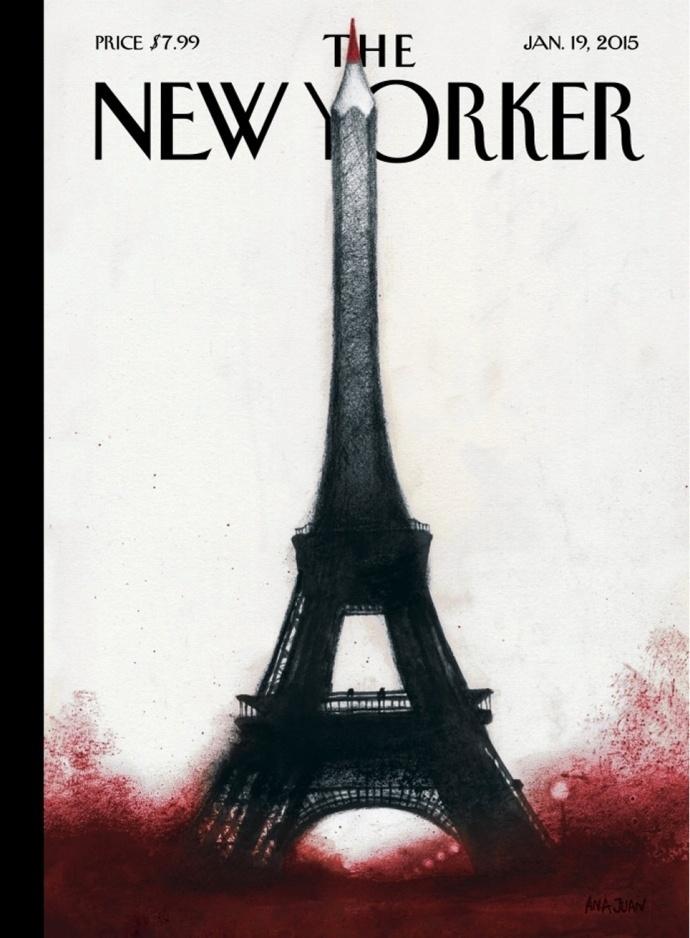 9.jan.2015 - The New Yorker - EUA-  - capa do jornal -  - homenagens ao Charles Hebdo