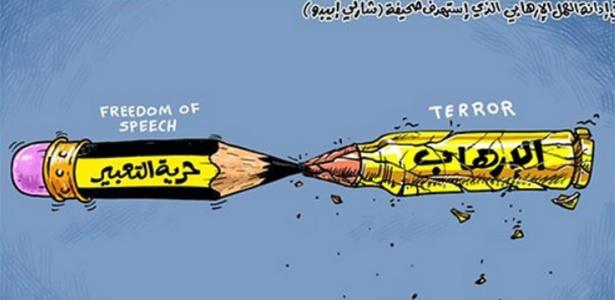Charge do jornal 'Al-Arabi Al Jadeed', do Catar, mostra o embate entre o lápis da 'liberdade de expressão' e o projétil do 'terror' - Reprodução/Al-Arabi Al-Jadeed