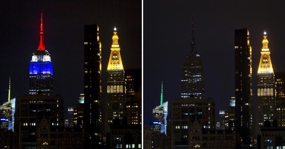 """11.jan.2015 - O topo do Empire State Building ganhou as cores da bandeira francesa (foto à esq.) antes de ter as luzes apagadas (à dir.) em homenagem às vítimas do ataque à revista francesa """"Charlie Hebdo"""", em Nova York, EUA, na noite deste domingo (11)"""