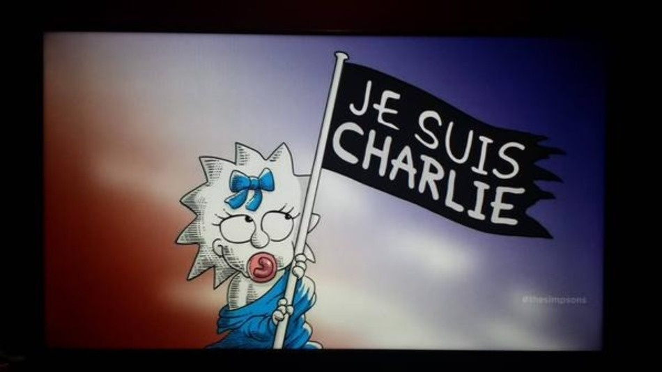 """12.jan.2015 - A série animada """"Os Simpsons"""" também homenageou os cartunistas da revista """"Charlie Hebdo"""". No último domingo (11), o episódio terminou com uma demonstração de respeito para com as vítimas dos atentados"""