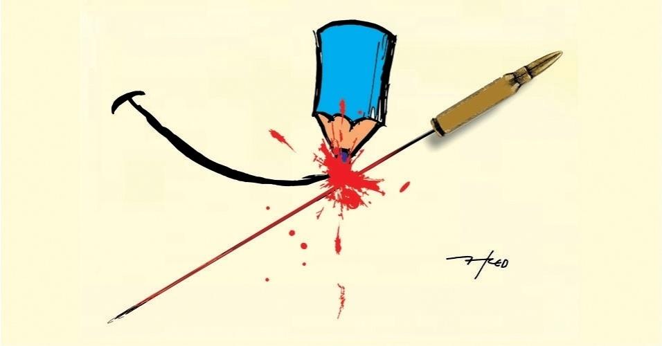 """12.jan.2015 - O chargista Fred homenageia às vítimas do atentado contra a revista satírica """"Charlie Hebdo"""" e manda o seguinte recado: """"A truculência da força jamais impedirá a sutileza do humor"""""""