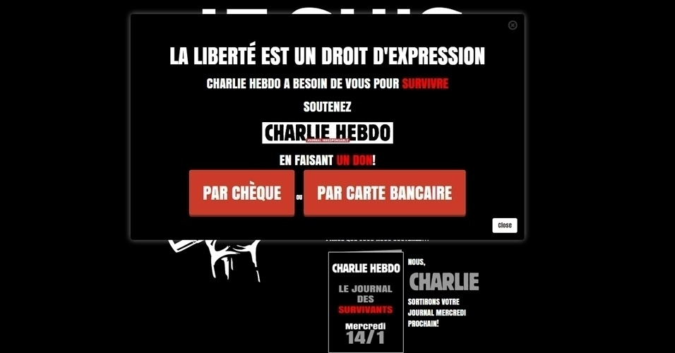 """14.jan.2015 - A revista satírica """"Charlie Hebdo"""" pede em seu site doações para """"sobreviver"""". Na imagem, uma mensagem diz: """"A liberdade é um direito de expressão. O Charlie Hebdo precisa de vocês para sobreviver"""""""