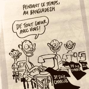 """14.jan.2015 - Em sua edição 1179, """"Charlie Hebdo"""" traz sátira com costureiros em Bangladesh produzindo camisetas com a frase """"Je suis Charlie"""" (Eu sou Charlie). O desenho é da cartunista Catherine, uma das sobreviventes do atentado - Reprodução"""