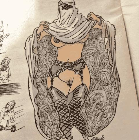 """14.jan.2015 - Uma mulher levanta a burca e exibe seu corpo neste desenho que integra a primeira edição do """"Charlie Hebdo"""" publicada após o ataque terrorista da última sexta-feira (9). A charge é do cartunista Tignous, morto durante o atentado - Reprodução"""